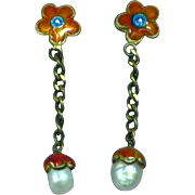 Vintage Chinese Cloisonne and Cultured Pearl Drop Pierced Earrings
