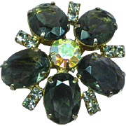 Clear A/B Rhinestone with Black Diamond COLOR Rhinestones  Dimensional Brooch Pin