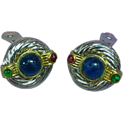 Gripoix Poured Glass Cabochon Large Clip Earrings