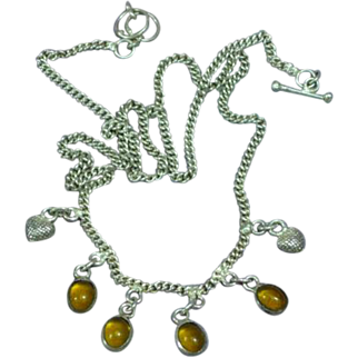 Sterling Silver Amber Charm Necklace