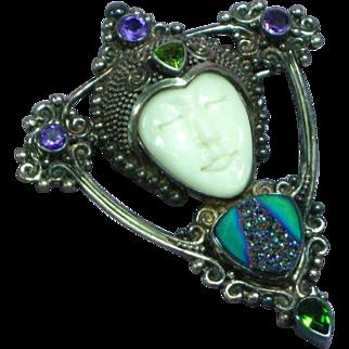 Stunning Sajen Sterling Silver Gemstone Citrine Amethyst Druzy Necklace Pendant Pin Brooch