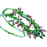 Rare Italian Pate de Verre Poured Glass Floret Flowers, Leaves, and Beads Estate Necklace