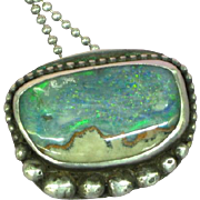 Native American Indian Sterling Silver Australian Boulder Opal Pendant Necklace