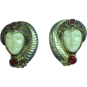Stunning Retired Sajen Sterling Silver Gemstone Ruby Garnet Goddess Face Clip Earrings