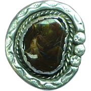 Sensational Native American Indian Hand Crafted Marbled Fire Agate Sterling Silver Large Ring