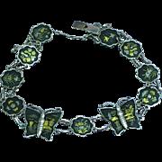 Japanese Damascene Gold and Sterling Inlay Shakudo Sterling Silver Butterfly Link Bracelet