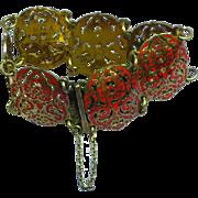 Exquisite Siam Thailand Red Enameled Gold Plated Filigree Unique Bracelet
