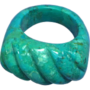 Turquoise Carved Solid Chunk Large Ring