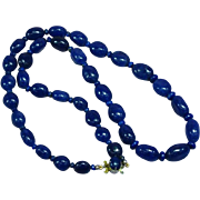 Vintage Estate Genuine Lapis Lazuli Graduated Bead Necklace
