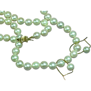 Vintage 14K Yellow Gold Clasp 6mm Cultured Pearl Necklace and Pierced Earrings
