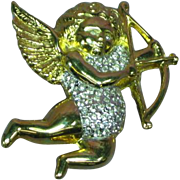Cupid Angel Cherub Rhinestones Pin Brooch