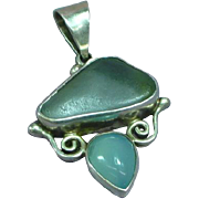Beach Glass Chalcedony Sterling Silver Designer Signed Beach Jewelry Ocean Sea Necklace Pendant