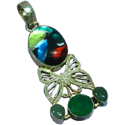 Vintage Sterling Silver Foil Art Glass Gemstone Necklace Pendant