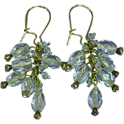 Crystal Bead  Rhinestone Dangle Gold Filled Wire Pierced Estate Earrings