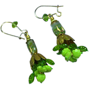 Green Vintage Crystal Bead Dangle Pierced Earrings