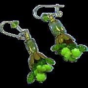 Green Vintage Crystal Bead Dangle Pierced Earrings