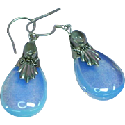 Opalescent Opalite Opaline Glass Dangle Moonstone Sterling Silver Pierced Earrings