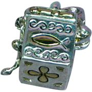 Vintage Gold & Silver Small Square Treasure Box Prayer Box Charm Pendant