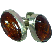 Vintage Baltic Amber Sterling Silver Button Pierced Earrings