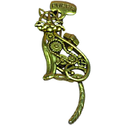 Steam Punk Cat with Suspended Moving Tail Dangle Signed AJC Pin Brooch