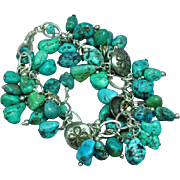 Sterling Silver & Turquoise Nugget Loaded Charm Bracelet