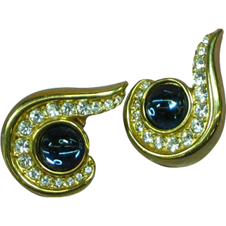 Krementz Signed Gold Tone Blue Cabochon Clear Rhinestones Pierced Earrings