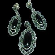 Gorgeous  Vintage Sterling Silver Onyx  Marcasites Dangle Necklace Pendant Pierced Earrings Set Demi Parure
