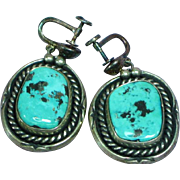 Native American Indian Pawn Sterling Silver Turquoise Large Screw Back Earrings