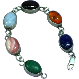 Native American Indian Sterling Silver Yazzie Signed Link with Gemstones Bracelet