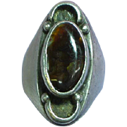 Vintage Genuine Mexican Fire Agate Unisex Large  Sterling Silver Ring
