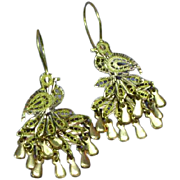 Yellow & Rose Gold Diamond Cut Peacock Figural Articulated Pierced Earrings