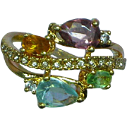 Multi Gemstones  Sterling Silver Vermeil Ring