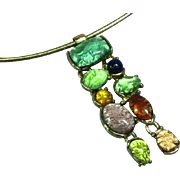 Art Glass Foil Cabochon Pendant on Omega Necklace