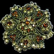 Fabulous Topaz Jonquil Rhinestone Large Pinwheel Brooch Pin