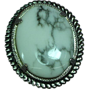 White Buffalo Turquoise NOS Brooch Pin