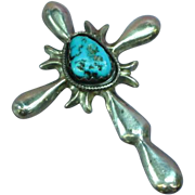 Native American Indian Navajo Large Sand Cast Cross Sterling Silver Turquoise Pendant