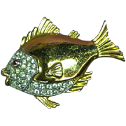 Rhinestones Gold Tone Fish Figural Brooch Pin