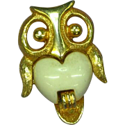 Gold Tone Small Owl Figural Pin Brooch