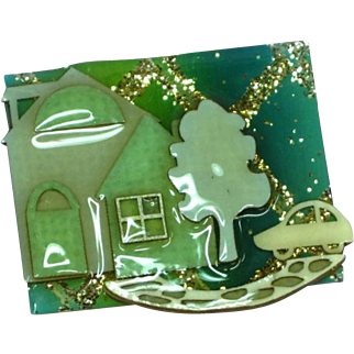 Vintage Lucinda Hand Made Whimsical Retired House Pin Brooch