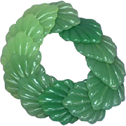 Lucite Fresh Green Jade Colors Leaf Figural Stretch Bracelet