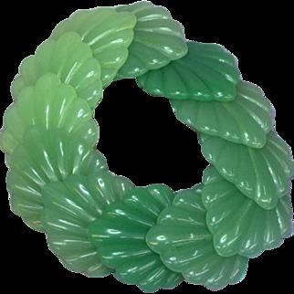 Lucite Fresh Green Jade Colors Leaf Figural Stretch Bracelet