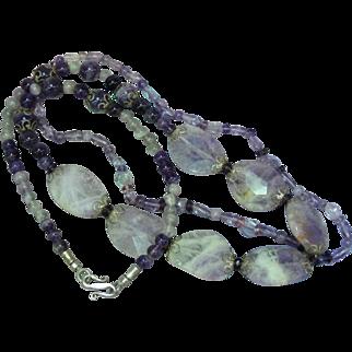Carved Natural Gemstone Lavender Amethyst Double Strand Sterling Silver Necklace