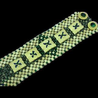 Beaded Genuine Lapis Malachite Gemstone Beads Carved Bone Button Bracelet