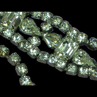 Vintage Crystal 1940s Rhodium Plate Rhinestone Necklace