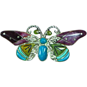 Native American Indian Zuni Sterling Applied Turquoise Gaspeite Sugilite Butterfly Brooch Necklace Pendant
