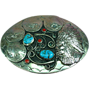 Native American Indian Turquoise & Coral Buffalo Nickel Belt Buckle