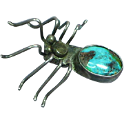 Native American Indian Sterling Silver Turquoise Spider Bug Insect Figural Pin Brooch
