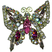 Vintage UNsigned Weiss Pastel Rhinestone Butterfly Brooch Pin