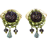 Copper with Applied Rose Detail & Crystal Dangles Clip Earrings