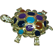 Enamel Rhinestone Large Articulated Turtle Figural Pendant